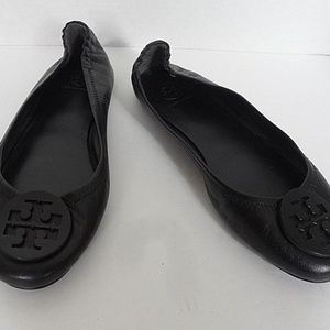 Tory Burch Black Leather Ballet Flats w/Black Logo